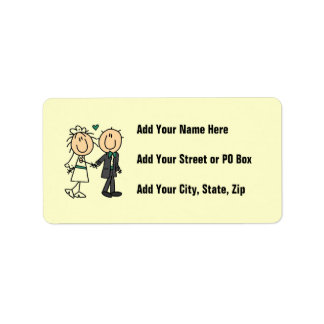 Stick Figure Bride and Groom T-shirts and Gifts Address Label