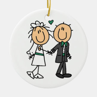 Stick Figure Bride and Groom T-shirts and Gifts Round Ceramic Decoration