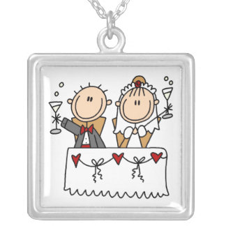 Stick Figure Bride and Groom Toasting  Necklace