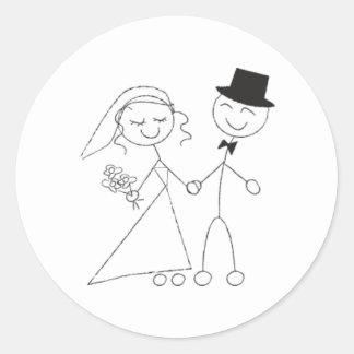 Stick Figure Bride & Groom Wedding RSVP Invitation Round Sticker
