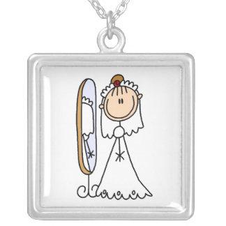 Stick Figure Bride  Necklace
