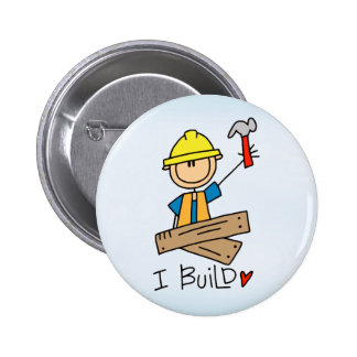 Stick Figure Carpenter 6 Cm Round Badge