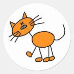 Stick Figure Cat T-shirts and Gifts Round Sticker