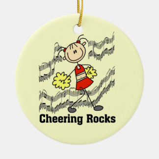 Stick Figure Cheering Rocks T-shirts and Gifts Round Ceramic Decoration