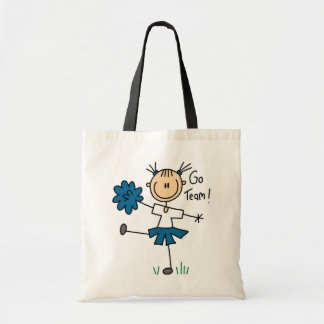 Stick Figure Cheerleader Go Team TShirts and Gifts Budget Tote Bag