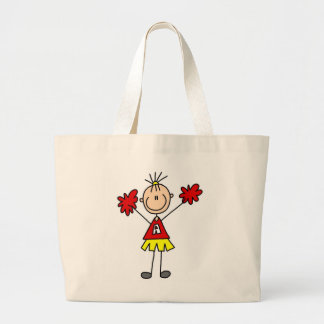 Stick Figure Cheerleader - Red and Gold Jumbo Tote Bag