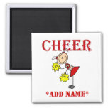 Stick Figure Cheerleader Square Magnet
