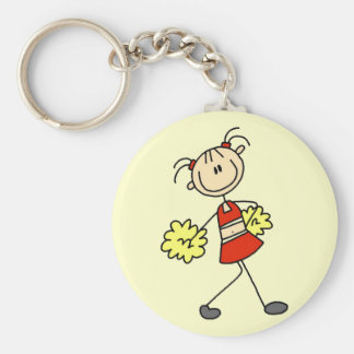 Stick Figure Cheerleading Tshirts and Gifts Basic Round Button Key Ring