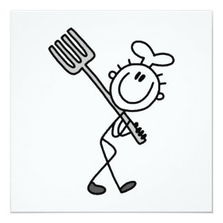 Stick Figure Chef With Fork Card