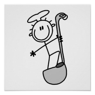 Stick Figure Chef With Ladle Poster