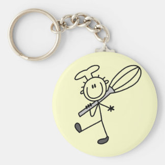 Stick Figure Chef with Whisk Tshirts Basic Round Button Key Ring