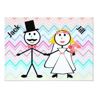 Stick Figure Chevron Jack and Jill Wedding Shower 13 Cm X 18 Cm Invitation Card