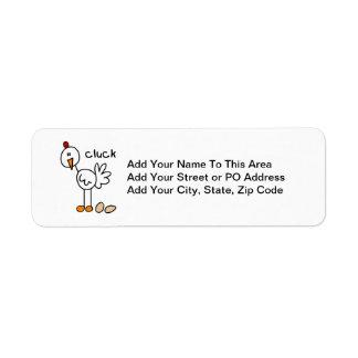 Stick Figure Chicken T-shirts and Gifts Return Address Label