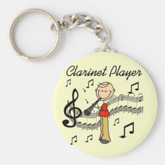Stick Figure Clarinet Player Tshirts and Gifts Basic Round Button Key Ring
