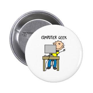 Stick Figure Computer Geek Button