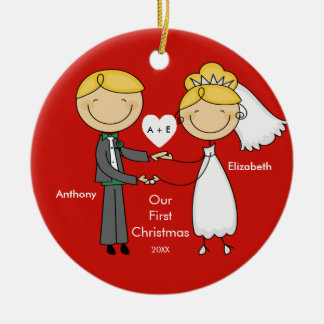 Stick Figure Couple Our First Christmas Ornament