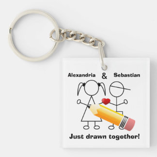 Stick Figure Couple With Hear Drawn Together Single-Sided Square Acrylic Key Ring
