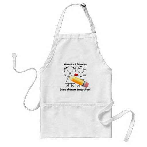 Stick Figure Couple With Heart Drawn Together Aprons