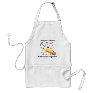 Stick Figure Couple With Heart Drawn Together Standard Apron