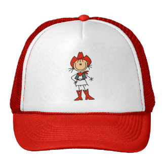 Stick Figure Cowgirl Red Hat and Boots Hat