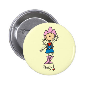 Stick Figure Cowgirl T-shirts and Gifts Button