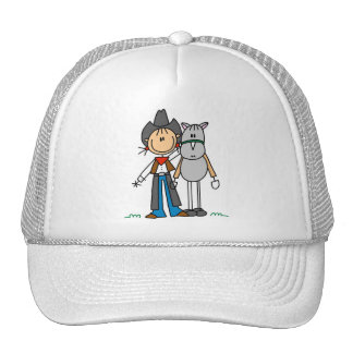 Stick Figure Cowgirl with Horse Hat