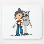 Stick Figure Cowgirl with Horse Mousepad