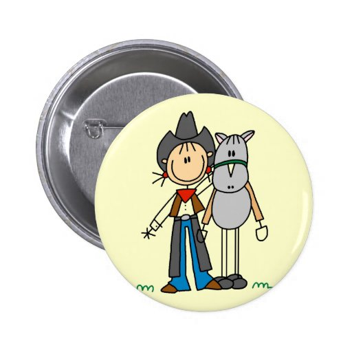 Stick Figure Cowgirl with Horse Tshirts 6 Cm Round Badge
