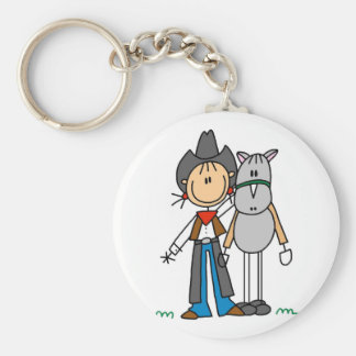 Stick Figure Cowgirl with Horse Tshirts Basic Round Button Key Ring