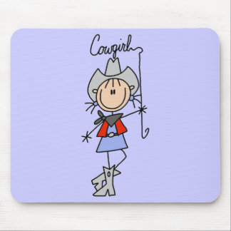 Stick Figure Cowgirl with Lasso Mouse Mat
