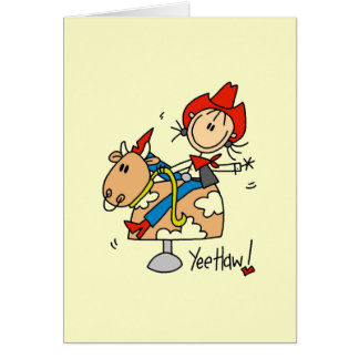Stick Figure Cowgirl Yee Haw T-shirts and Gifts Card