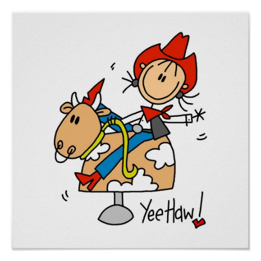 Stick Figure Cowgirl Yee Haw T-shirts and Gifts Posters