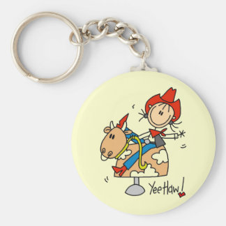 Stick Figure Cowgirl Yee Haw Tshirts and Gifts Basic Round Button Key Ring