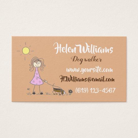 Stick figure dog walker business cards