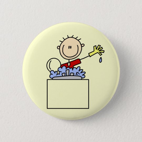 Stick Figure Doing Dishes Tshirts and Gifts 6 Cm Round Badge
