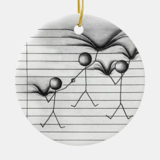 Stick Figure Drawing of Hanging on Lines Christmas Ornament