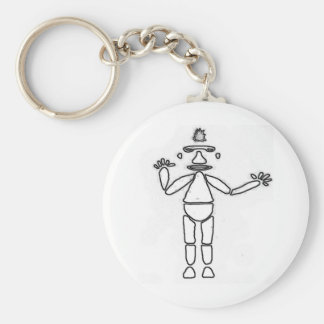 Stick Figure Drawing Outline Basic Round Button Key Ring