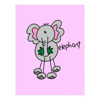 Stick Figure Elephant Tshirts and Gifts Postcard