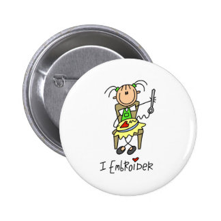 Stick Figure Embroider Button