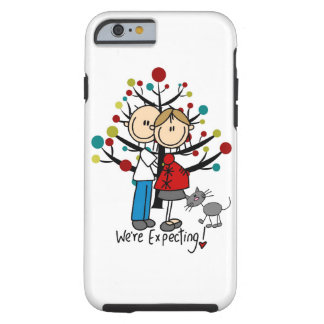 Stick Figure Expectant Couple and Cat iPhone 6 Tough iPhone 6 Case