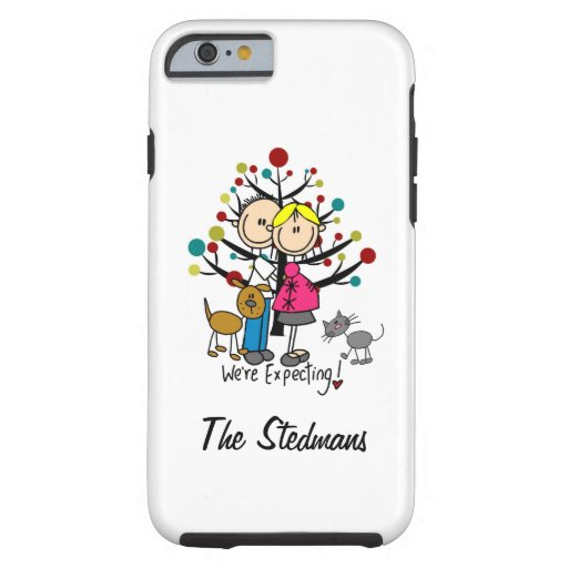 Stick Figure Expectant Couple Cat and Dog iPhone 6 iPhone 6 Case