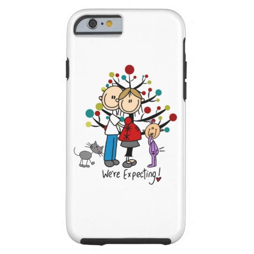 Stick Figure Expectant Couple, Girl, Cat iPhone 6 Tough iPhone 6 Case
