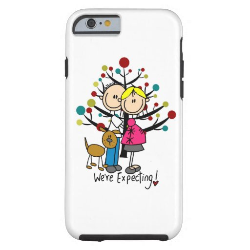 Stick Figure Expectant Couple With Dog iPhone 6 iPhone 6 Case