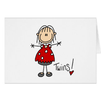 Stick Figure Expecting Twins Greeting Card