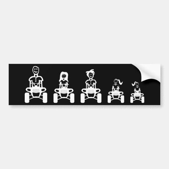 Stick Figure Family on ATVs Bumper Sticker