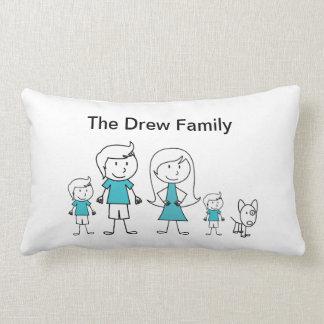 Stick Figure Family Pillow Cushion