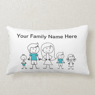 Stick Figure Family Pillow Throw Cushions