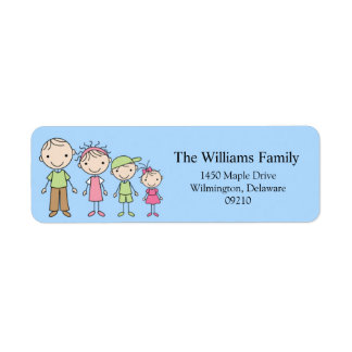 Stick Figure Family Return Address Labels
