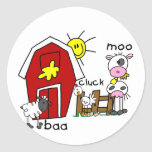 Stick Figure Farm Animals Tshirts and Gifts Round Sticker
