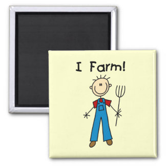 Stick Figure Farmer Tshirts and Gifts Square Magnet